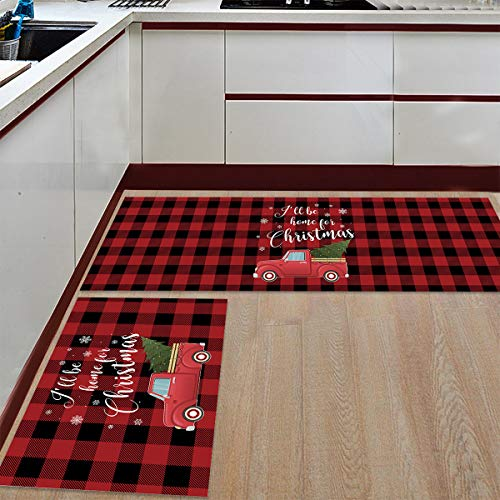 Kitchen Mat Set Anti-Wear&Non-Slip Floor Rug Set 2 Pieces Microfiber Doormat Machine Washable Carpets, Christmas Red Truck with Christmas Tree on Red Grid, Fit Bathroom Living Room Dining Room