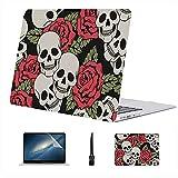 Compatible con Macbook Air 11'13' Pro 15'16' Festival de Moda gótico Rose Flowers Skull Estuche rígido de plástico para Macbook Pro A1708 Estuche Protección Accesorios con Alfombrilla de ratón