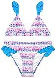 SHEKINI NiñA 2 Piezas TriáNgulo Cenefa Bikini Traje De BañO Cintura Baja Parte Inferior del Bikini Lindo Traje De BañO Floral Rosa Hawaii Bikini Playa (Cielo Azul, 6-8 Años)
