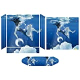 Anti-Scratch Skin Decal Sticker Compatible PS4 Pro Slim Protector Cover Playstation Console Skin 2 Controller Joystick Skins Set Drowning Girl Printed