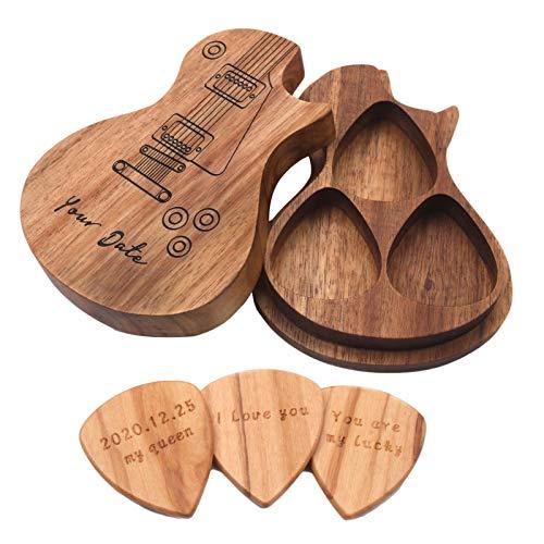 beeyuk Gitarre pickt Holz Mit Gitarren-Auswahlbox Personalisierte Sammler-Gitarren-Picks Anzug Gitarren-Zubehör Musikgeschenk, 3 Picks Für Ukulele, Akustischer E-Bass, Gitarre