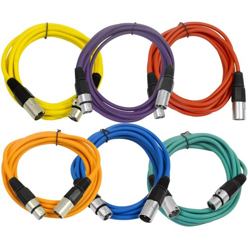 SEISMIC AUDIO - SAXLX-10-6 Pack of 10  Multiple Color XLR Male to XLR Female Patch Cables - Balanced - 10 Foot Patch Cords