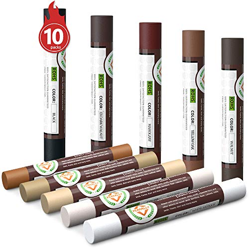 Furniture Markers Touch Up,Wood Filler Floor Scratch Repair Kits,Set of 10 Wax Sticks for Funiture Repair,Floor Scratch.Touch Up Repair System Set,Wood Restore Pack for Wooden Floor Table Door Cabinet