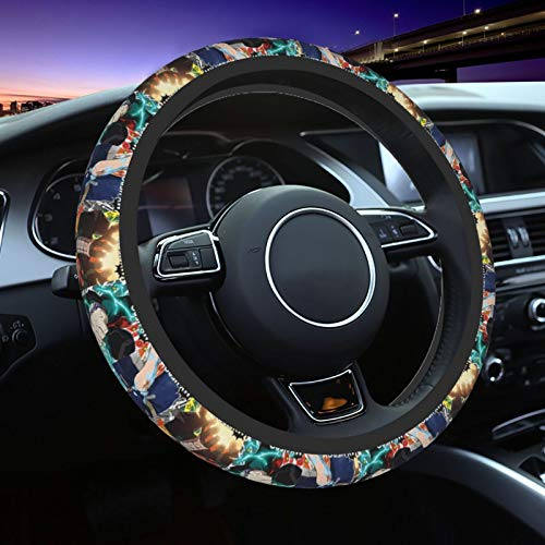 Drfetferatf My Hero Academia Anime Steering Wheel Cover,for Women and Men Car Steering Wheel Protective Cover Breathable Anti-Slip Odorless,Warm in Winter and Cool in Summer,Universal 15 Inch
