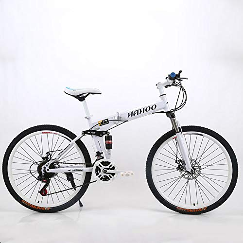 OFAY Folding Mountain Bike Adult Highway Commuting Bicycle High Carbon Steel Frame 20 Inch Variable Speed Double Shock Absorption Foldable MTB Bicycle,White,27 Speed B