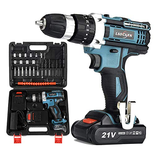 SP-Cow 21V Cordless Drill Driver with Kitbox, Powerful 2x1500mA Lithium Battery,32Nm of Torque, 2-Speed,1H Fast Charging,LED Work Light,for Home Improvement & DIY Project,Charger Included,Green