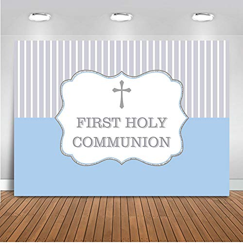 Mehofoto Primera Comunión Telón de fondo 7x5ft Oro Bless Ducha del bebé del cumpleaños Photo Booth Contextos el bautizo del postre Fotografía de fondo de la tabla