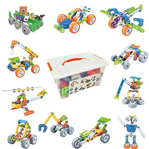 Gxi STEM Toys Building Blocks for Kids 175 Pcs Construction Toy Engineering Kit - Educational Building Set for 4 5 6 7 8 9 10 Year Old Boys and Girls