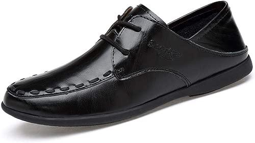 WONGYAN 2019 Mode Casual Driving Loafers for Herren Low-Top-Schnürschuhe mit flexiblen, leichten Stiefel-Mokassins (Farbe   Schwarz, Größe   43 EU)
