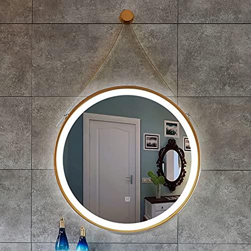Golden Sling Round Iron Art HD LED Espejo con luz Lavabo Espejo de baño montado en la Pared Espejo Inteligente 50CM, 60CM, 70CM, 80CM