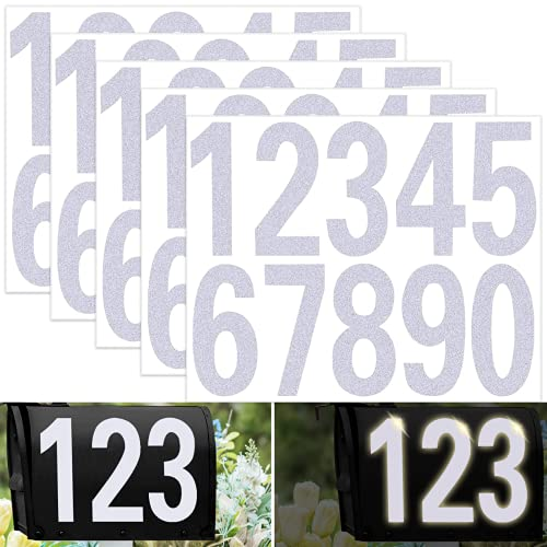 3  Mailbox Numbers for Outside - 50 PCS Reflective Numbers for Mailbox Die Cut Classic Style 0-9 Self Adhesive Waterproof Mailbox Numbers for Signs, door, House Address (White Number Pack)