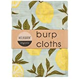 Milkbarn Organic Cotton Burp Cloths (2 pack) (Blue lemon), 23'x23'