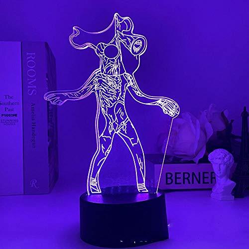 Lámpara de cabeza de sirena, 7/16 colores Friends Game SCP 6789 Luz LED 3D Illusion Among us Night Light Atmosphere Mesitas de noche Luces nocturnas Sensor de luces para niños