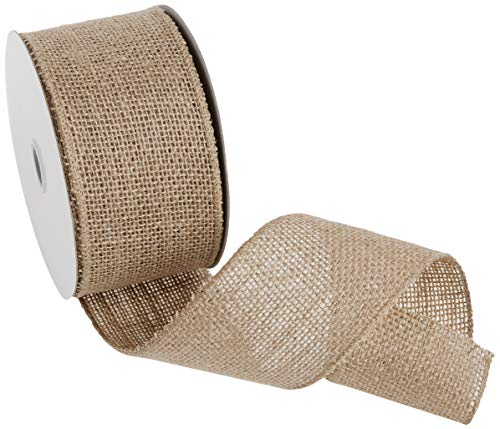 "Morex Ribbon #1252 Burlap (Wired) Ribbon, 2.5"" x 10 Yd, Natural"