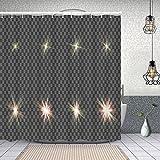 MAYUES Cortina de Ducha Impermeable eps10 Set Efectos de luz diseñar Cada uno Cortinas baño con Ganchos Lavable a Máquina 72x72 Inch