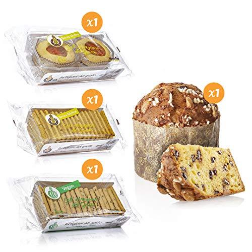 Cesto di Natale dolce Mario Senza Glutine - Artigianale - Senza glutine - Composto da: Crostatine, frollini, biscotti vegani e Panettone al cioccolato senza glutine