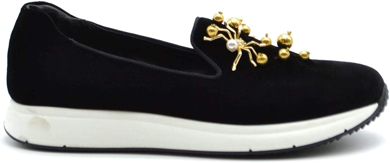 Car shoes Women's MCBI37683 Black Velvet Loafers