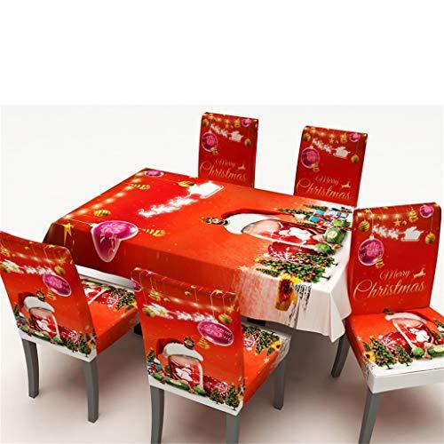 Mantel Funda de silla Decoración Manteles de Navidad, Mantel Rectangular Mantel de Mesa Mantel para Mesa Patrón de Navidad Lavable Antimanchas Lavable Decoración de Hogar (Funda de Silla, Rojo A)