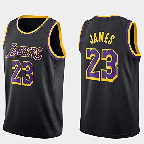 Edición de Bonificación Negra, Los Angeles Lakers Lebron James Baloncesto Masculino Cosido Transpirable # 23 Sport Swingman Jersey Ropa, Fresco y Transpirable Tejido Deportivo(Size:M,Color:A1)