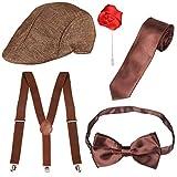 Beefunny Herren Roaring 1920er Set Gangster Kostümzubehör Set-Y-Back Hosenträger & Pre gebundene...