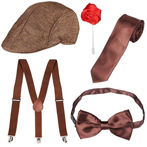 Beefunny Herren Roaring 1920er Set Gangster Kostümzubehör Set-Y-Back Hosenträger & Pre gebundene Fliege, Krawatte, Spielzeug Zigarre & falschen Schnurrbart (Braun)