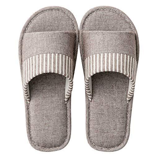 HIUGHJ Zapatillas de casa de algodón Suave de Lino Primavera Verano Rayas Dormitorio Zapatillas de Mujer Zapatillas de Interior Zapatos para Mujer, marrón, 6.5