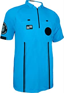 New USSF Men's Pro Soccer Referee Blue SS Shirt (Small Blue)