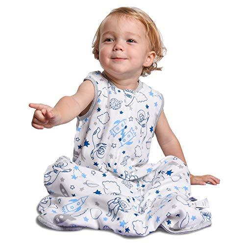 Momcozy Saco de Dormir para Bebé, Saco de Dormir 2 en 1 30% Algodón + 70% Fibra de Bambú, Bolsa de Dormir de Muselina Súper Suave con Cremallera de 2 vías, Uso Prolongado en Edad