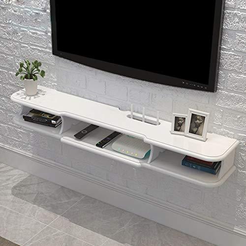 Meuble de télévision Mural Routeur Wi-FI Set Top Box Étagère de Rangement télécommandée Étagère Flottante Étagère Murale étagère d'affichage Multifonctions (Couleur : Blanc, Taille : 140cm)
