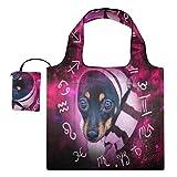 Bolsas de compras reutilizables – Horóscopo astrológico lindo perro cachorro plegable grande Rip Stop Bolsas de tela reutilizables con bolsa