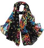 Aven Women Classy Voile Print Colorful Flowers Long Scarf Shawl Wrap Color Black
