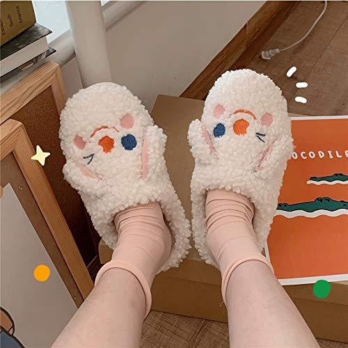 WM home Zapatillas Antideslizantes Zapatos de Kawaii Zapatillas de Dibujos Animados para hogar toboganes de Piel cómodos de Invierno Suave para Chanclas para Mujer Apto para Interior y Exterior