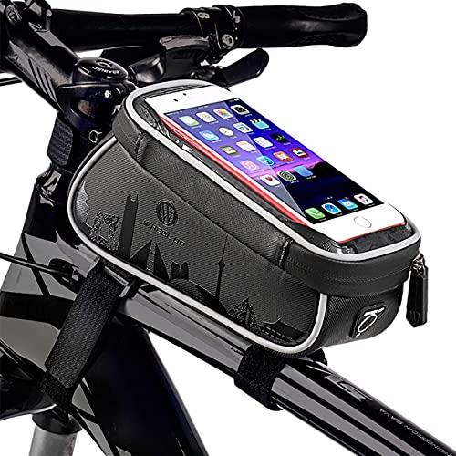Bolsa Para Cuadro De Bicicleta, Bolsa De Sillín, Soporte Para Teléfono De Bicicleta, Bolsa De Tubo Superior Frontal Impermeable Para Ciclismo Con Soporte Para Teléfono Con Pantalla Táctil, Maleta Par