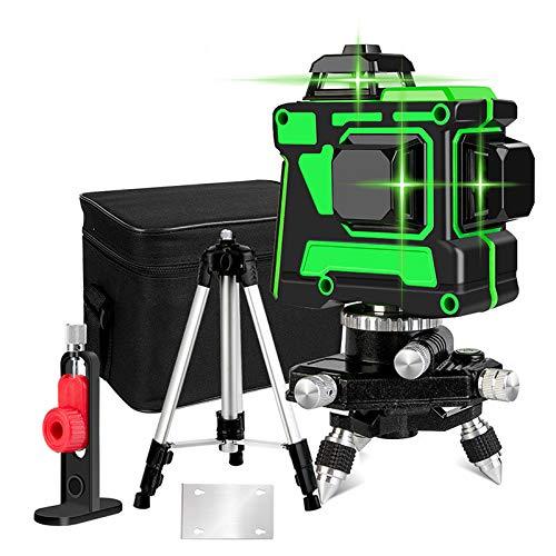 Nivel láser 3D 12 línea 360° verde, nivel láser 3D de línea cruzada con soporte de...