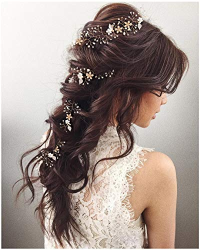 SWEETV Crystal Gold Hair Vine – Braided Bridal Headband Bohemian Wedding Headpiece – 28.5 inch/72 cm Extra Long Pearl…
