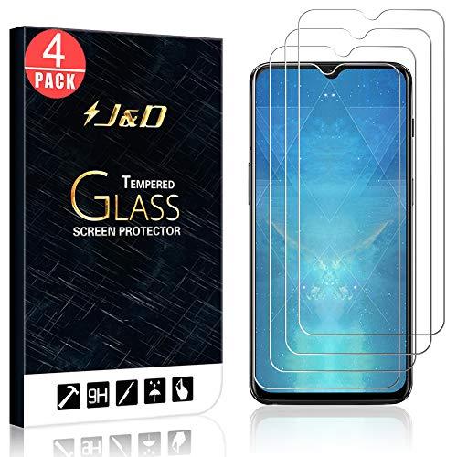 J&D Compatibile per 4 Confezioni OnePlus 6T Pellicola Protettiva, [Vetro Temperato] [Non Piena Copertura] HD Chiaro Balistico Vetro Protezione Schermo per OnePlus 6T