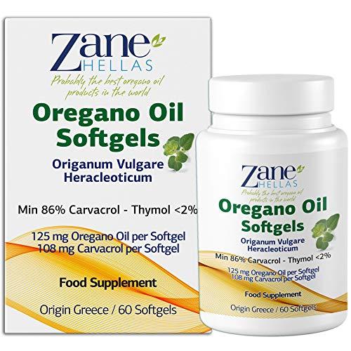 Zane Hellas Oregano Oil Softgels. La concentration la plus élevée au monde. Chaque Softgel contient 25% d'huile essentielle grecque pure d'origan. 108 mg de carvacrol par softgel. 60 gélules.