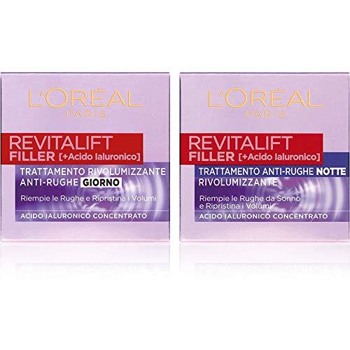 L'Oréal Paris Revitalift Filler Routine Viso per una Pelle Rimpolpata e Ringiovanita, include Crema Viso Giorno + Crema Viso Notte Rimpolpanti, Arricchite con Acido Ialuronico