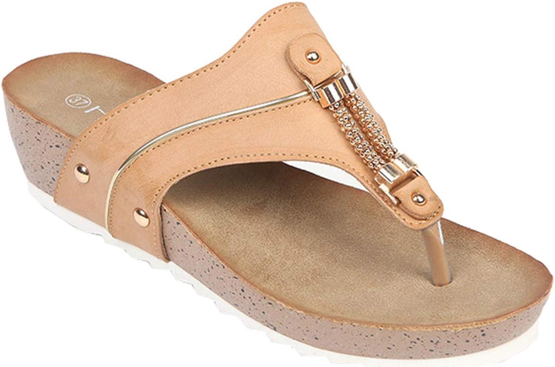AGOWOO Womens Nonslip Metal Beaded Wedge Thong Beach Sandals