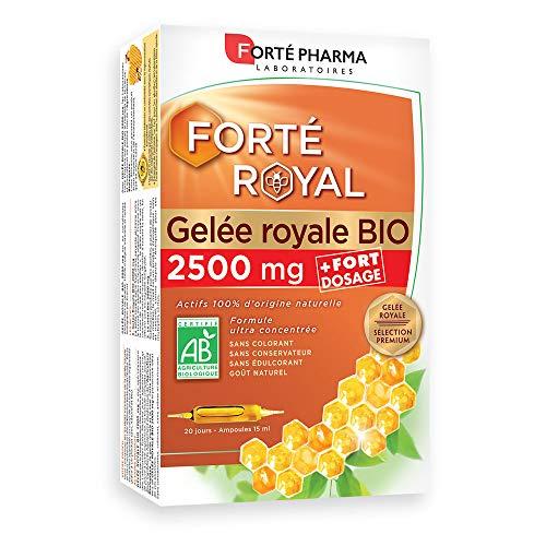 Forté Pharma Royal Gelée Royale 2500mg Bio Complément Alimentaire à Base de Gelée Royale 20 Ampoules de 10 ml 20 Unités