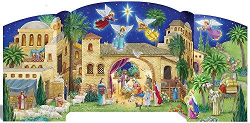 Vermont Christmas Company, calendario dell'Avvento con motivi della Natività di Betlemme, in posizione eretta senza supporti