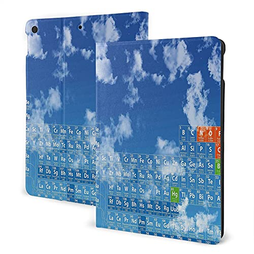 Case For Ipad 8/7 (2020/2019 Model, 8th / 7th Generation), Ipad Air3 & Pro 10.5in Print Theme - Science Clear Bright Sky With Coulds And Chemistry Table For Kids Smart Student Print Blue And White