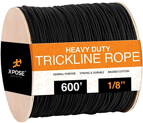 Black Unglazed Trickline Rope - 600 ft x 1/8 inch Theatrical Tie Line Heavy Duty Spool, Cable Management and Wire Tie - for Theatre, Stage Decor, Rigging and Utility Applications - Xpose Safety