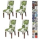 JOTOM Stuhlhussen Universal Stretch Stuhlbezug Elastische Moderne Stuhl Hussen Set Abnehmbare Dekoration Stuhlabdeckung für Esszimmer Party Hotel Restaurant Deko (Grün Blätter, 4er Set)