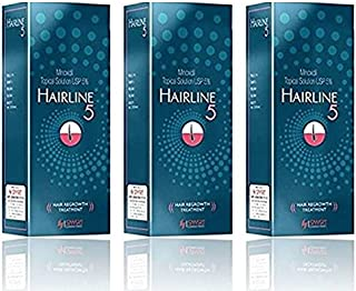 Hairline Minoxidil 5% Solution For Hair Regrowth & Hair Loss Treatment (3 bottles x 60ml)