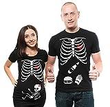 Camiseta de maternidad con esqueleto de Halloween, para niña, de rayos X, para parejas a juego, esqueleto, hamburguesa