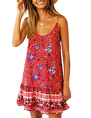 Women's Summer Beach Dress ,Cover Up Spaghetti Strap Cami Dresses with Pocket Flowy Shift Dress Red S