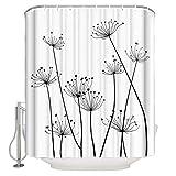 Distel Blume Pusteblume Stoff Duschvorhänge für Badezimmer Wasserdicht Waschbar Badezimmer Duschvorhang Set mit 12 Haken Schwarz Weiß 54x78inch Small Size schwarz