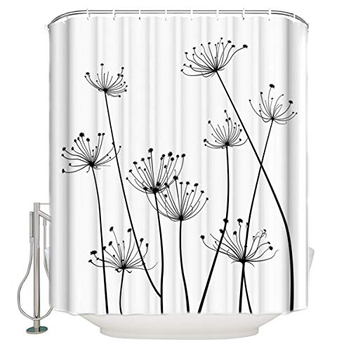 Thistle Flower Dandelion Fabric Shower Curtains for Bathroom, Waterproof Washable Bathroom Shower Curtain Set with 12 Hooks, Black White, 54x78inch Small Size