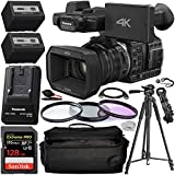 Panasonic HC-X1000 4K DCI/Ultra HD/Full HD Camcorder with Essential Accessory Bundle – Includes: SanDisk Extreme PRO 128GB SDXC Card, Extended Life Replacement Battery, Camcorder Carrying Case & More